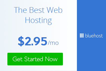 Bluehost web hosting coupon code advertisement on bluehost review